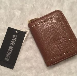 NWT Steve Madden Cognac Zip Around Wallet